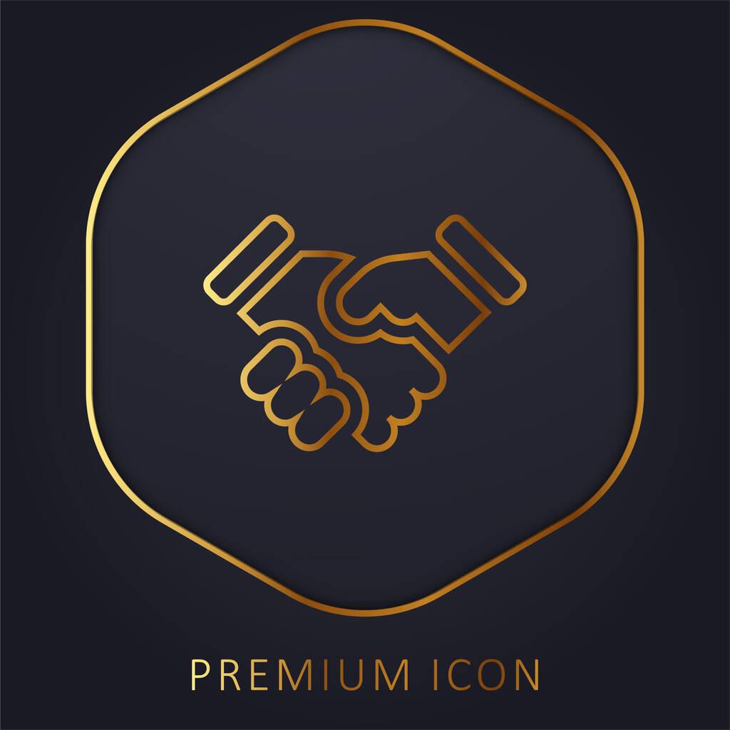 Agreement golden line premium logo or icon