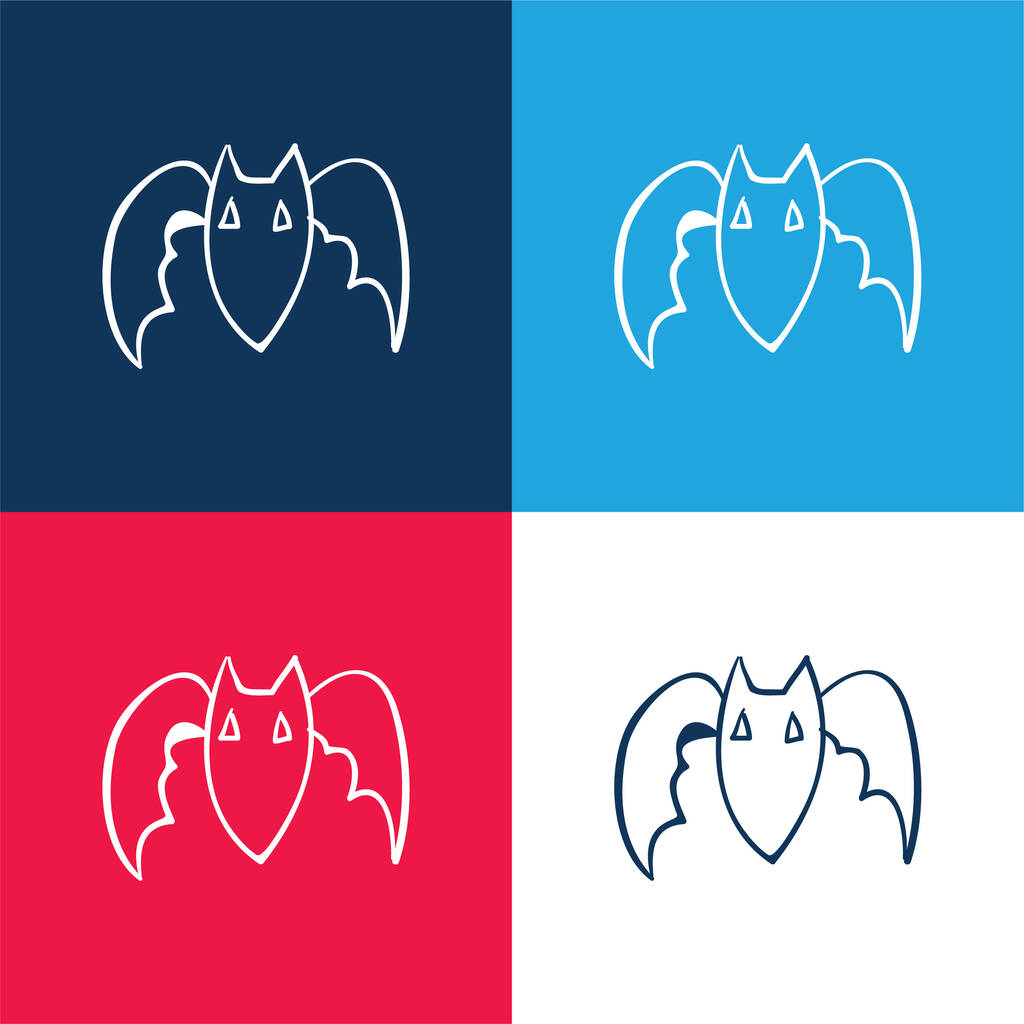 Bat Outline blue and red four color minimal icon set
