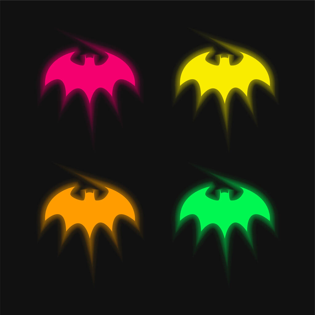 Bat With Sharp Wings Silhouette four color glowing neon vector icon