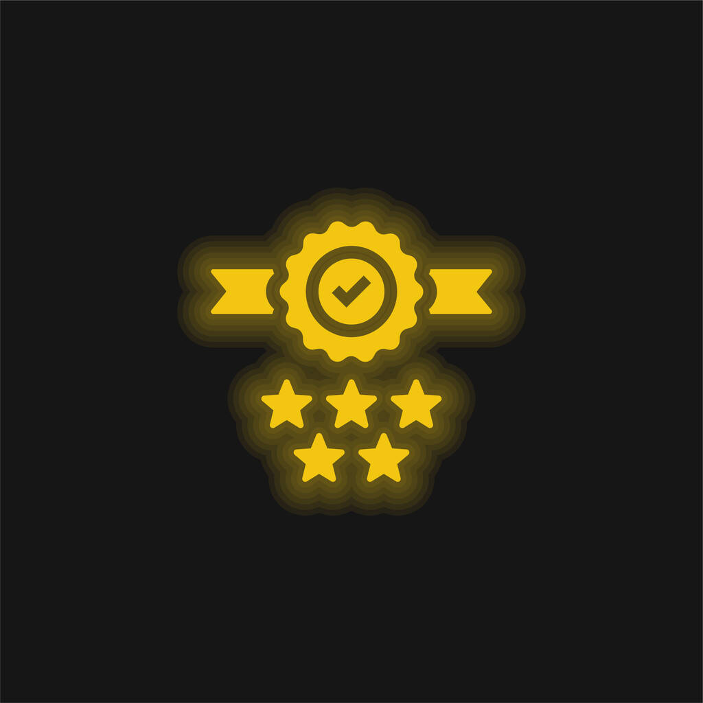 Badge yellow glowing neon icon