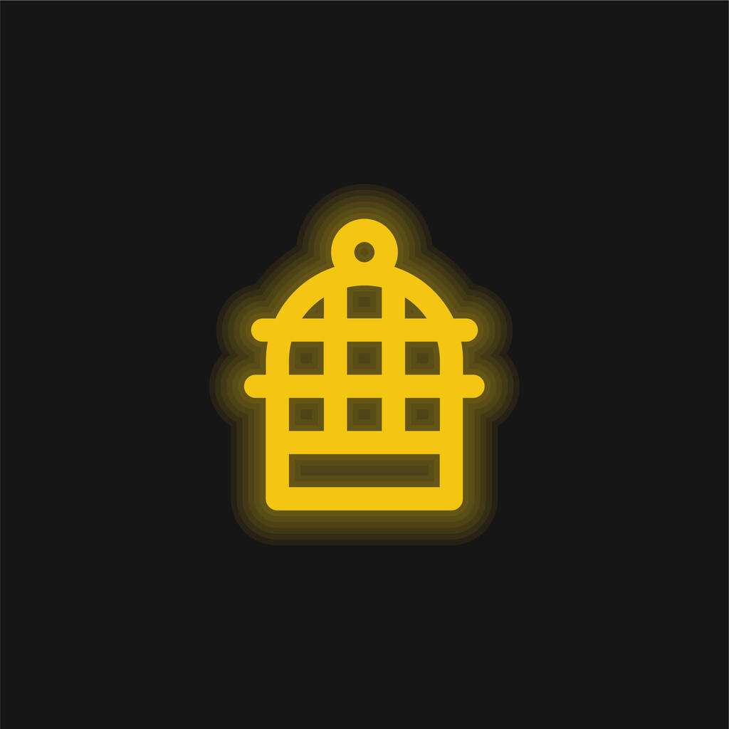 Bird Cage yellow glowing neon icon
