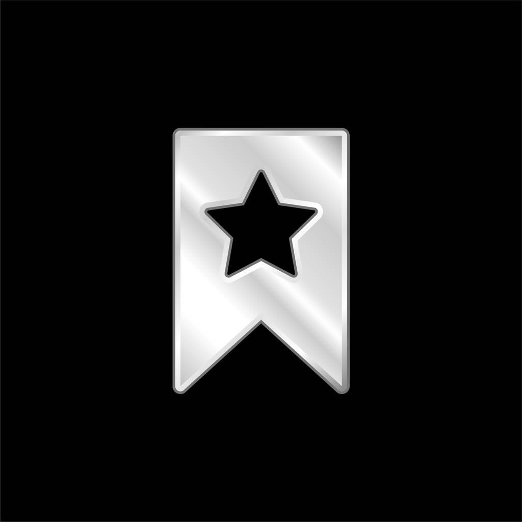 Bookmark silver plated metallic icon