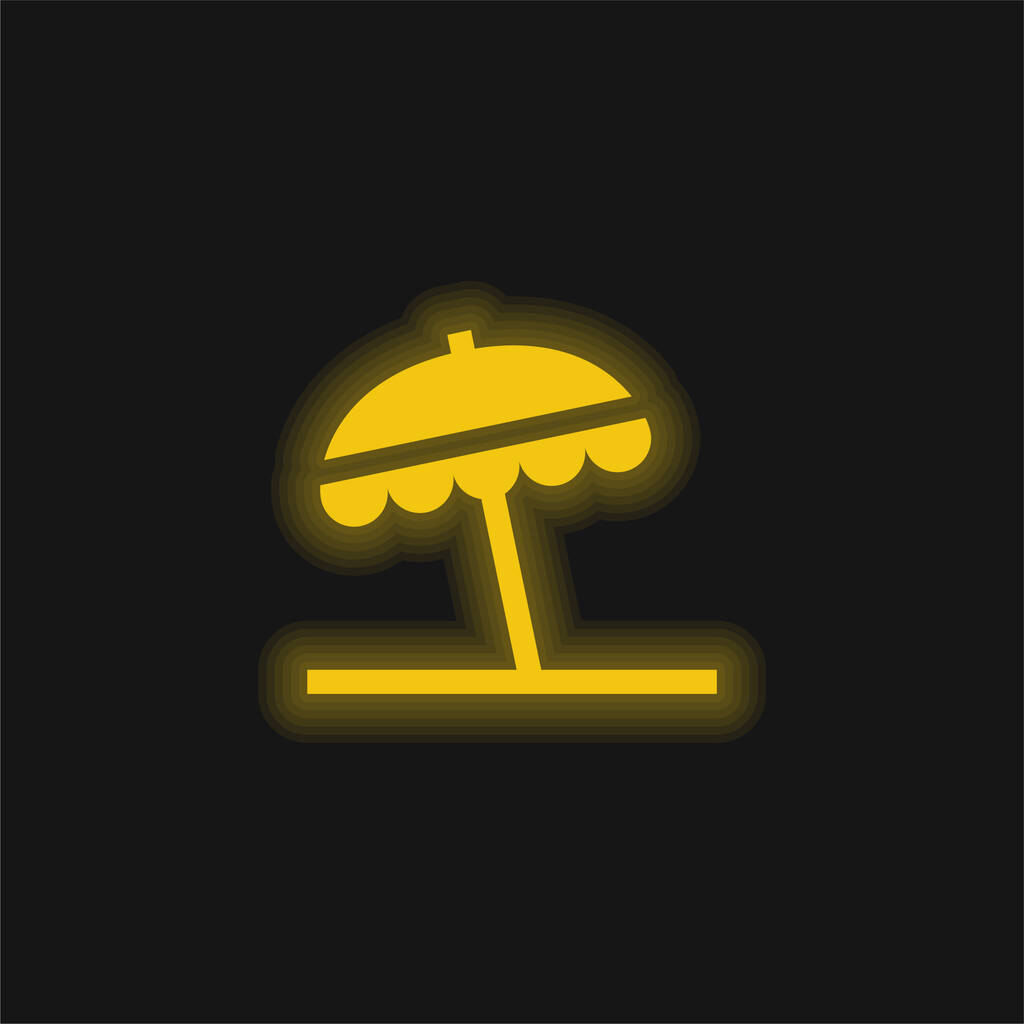 Beach Umbrella yellow glowing neon icon