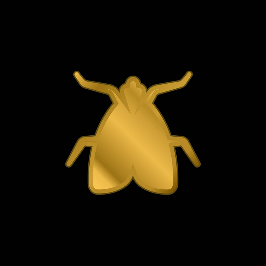 Big Fly gold plated metalic icon or logo vector