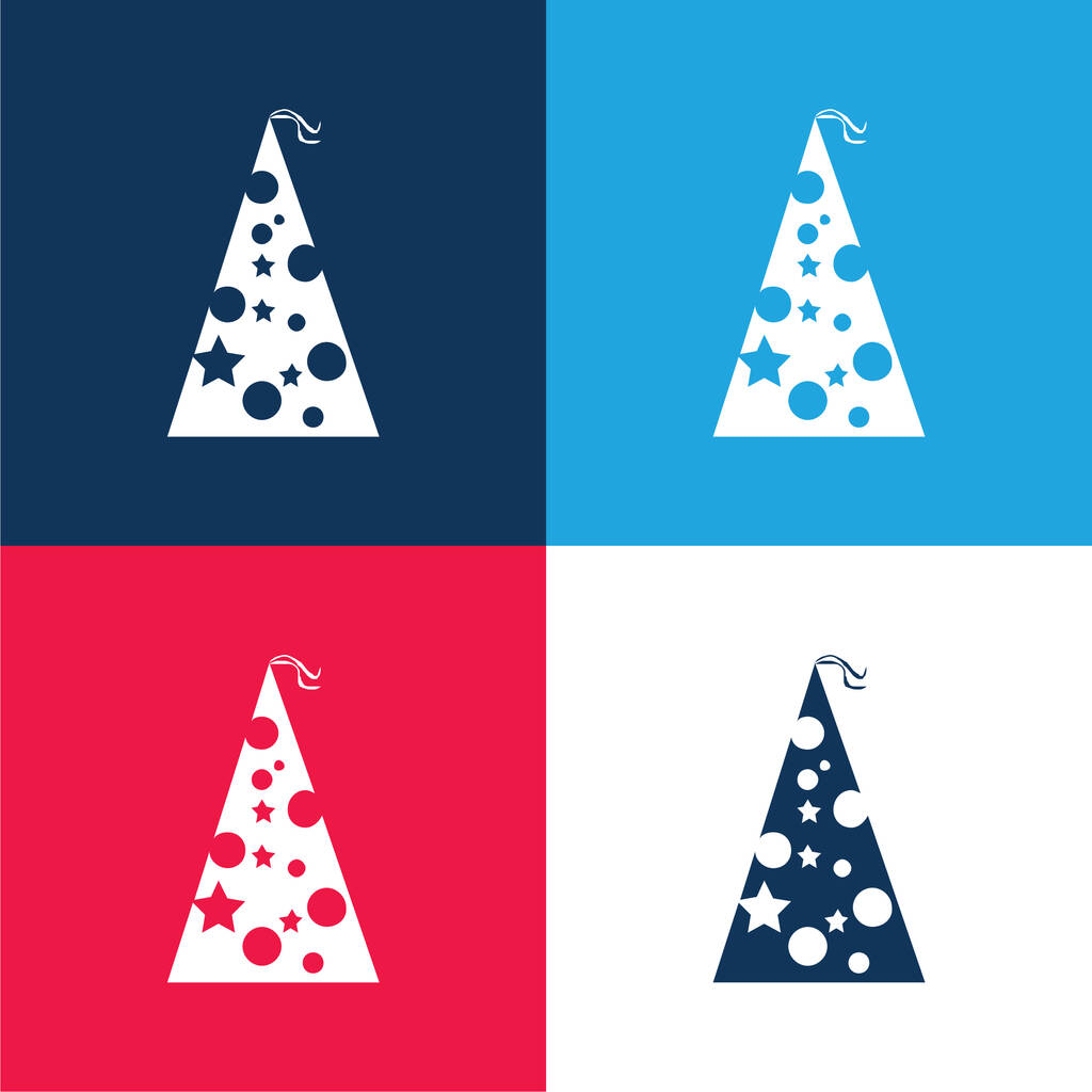 Birthday Hat With Dots And Stars blue and red four color minimal icon set