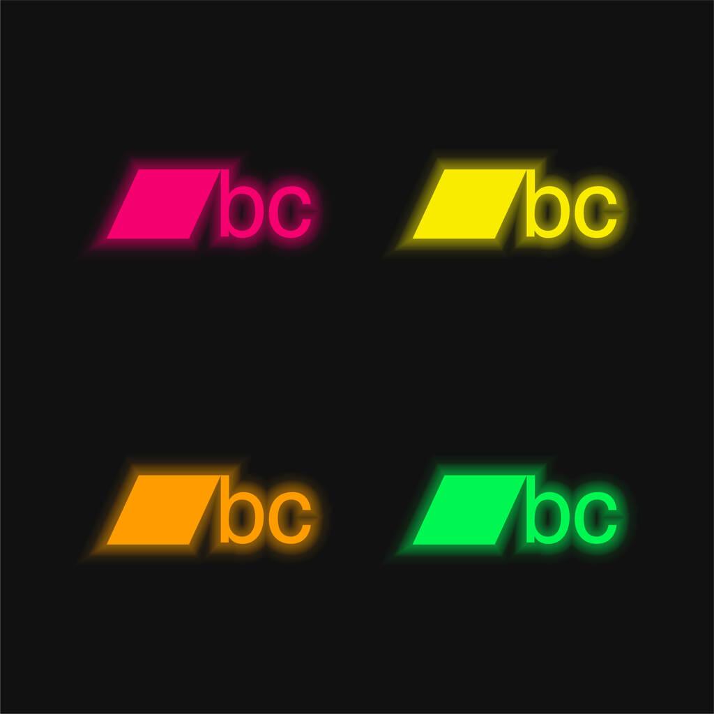 BC Logo four color glowing neon vector icon
