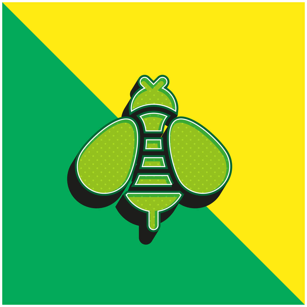 Bee Green and yellow modern 3d vector icon logo