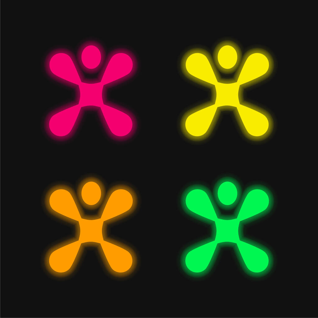 Abstract Shape four color glowing neon vector icon
