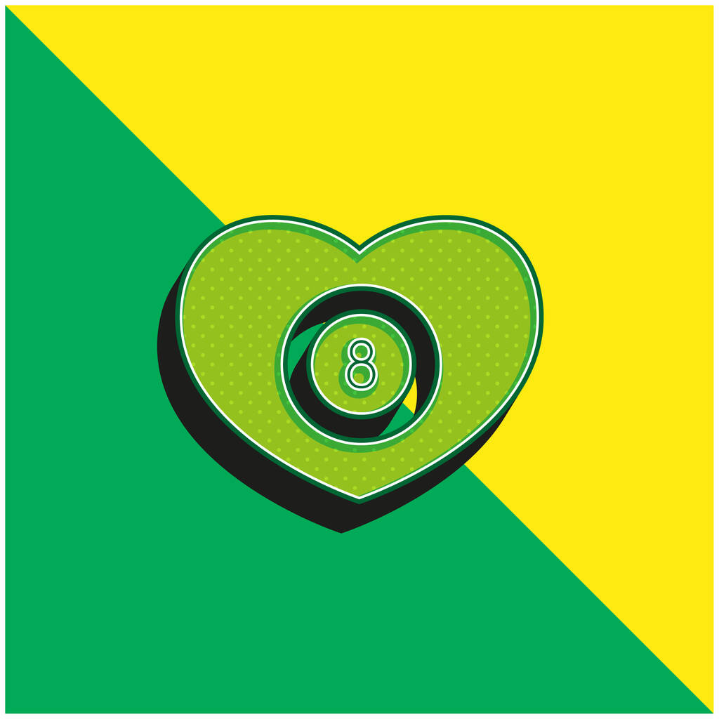 Billiards Heart With Eight Ball Inside Green and yellow modern 3d vector icon logo