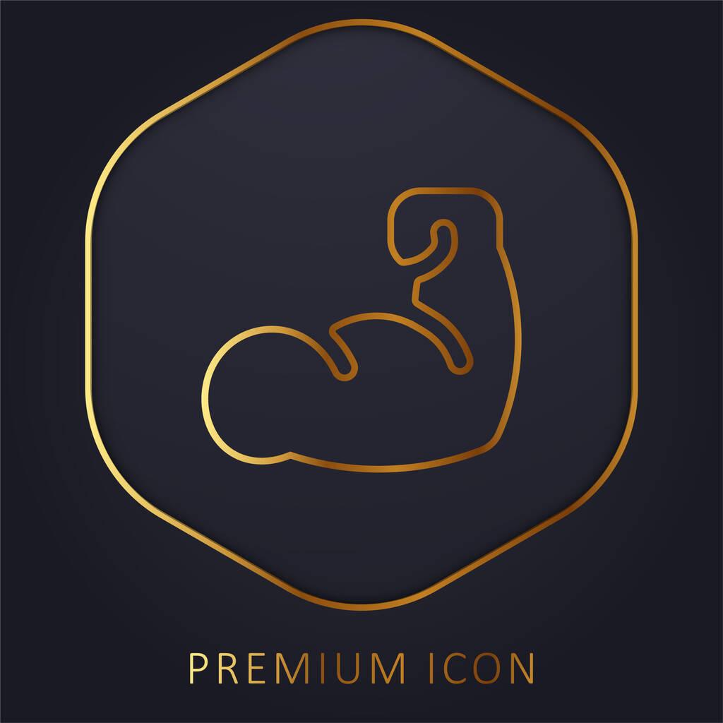 Arm golden line premium logo or icon