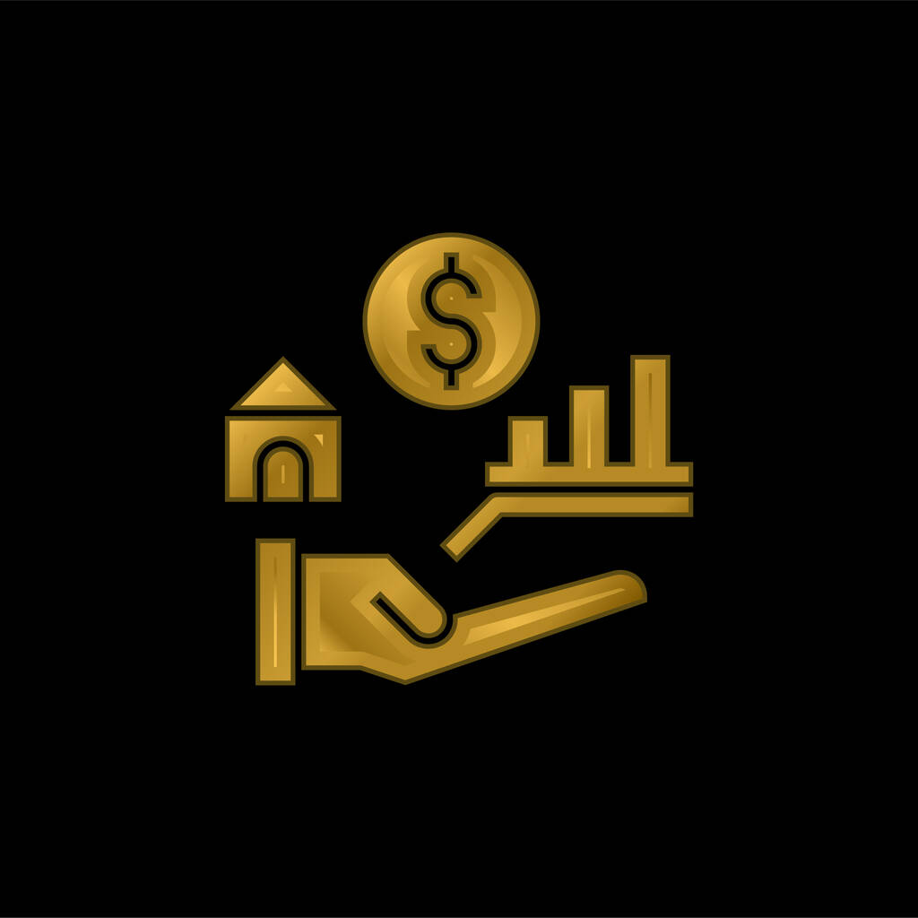Benefits gold plated metalic icon or logo vector