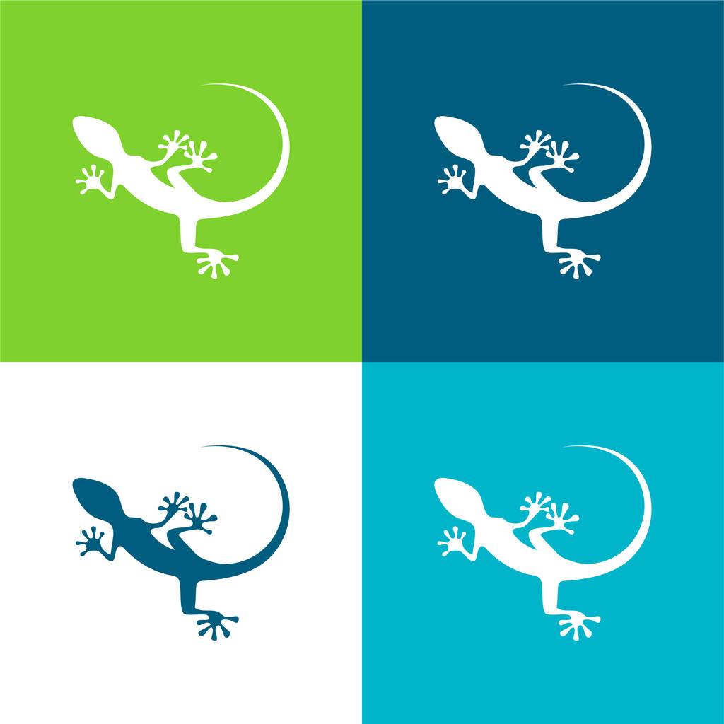 Animal Flat four color minimal icon set