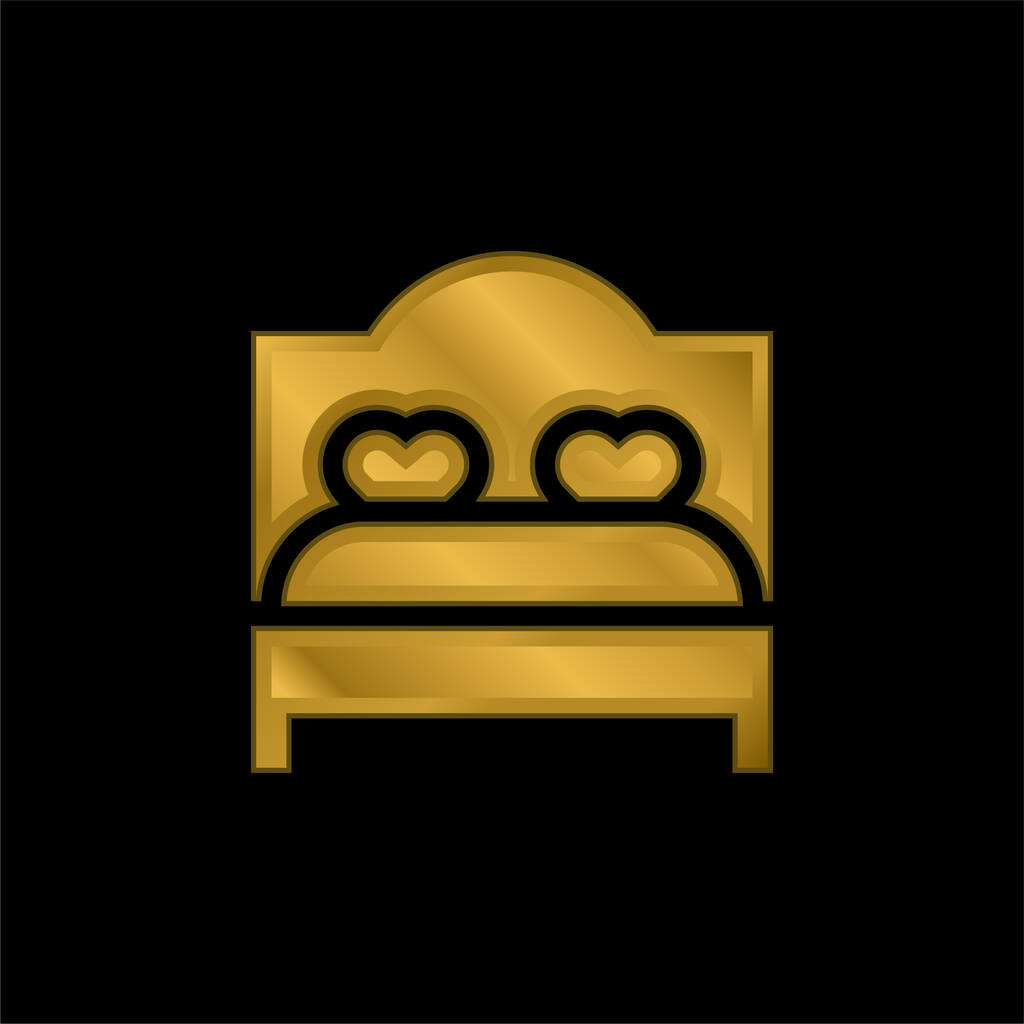 Bed gold plated metalic icon or logo vector