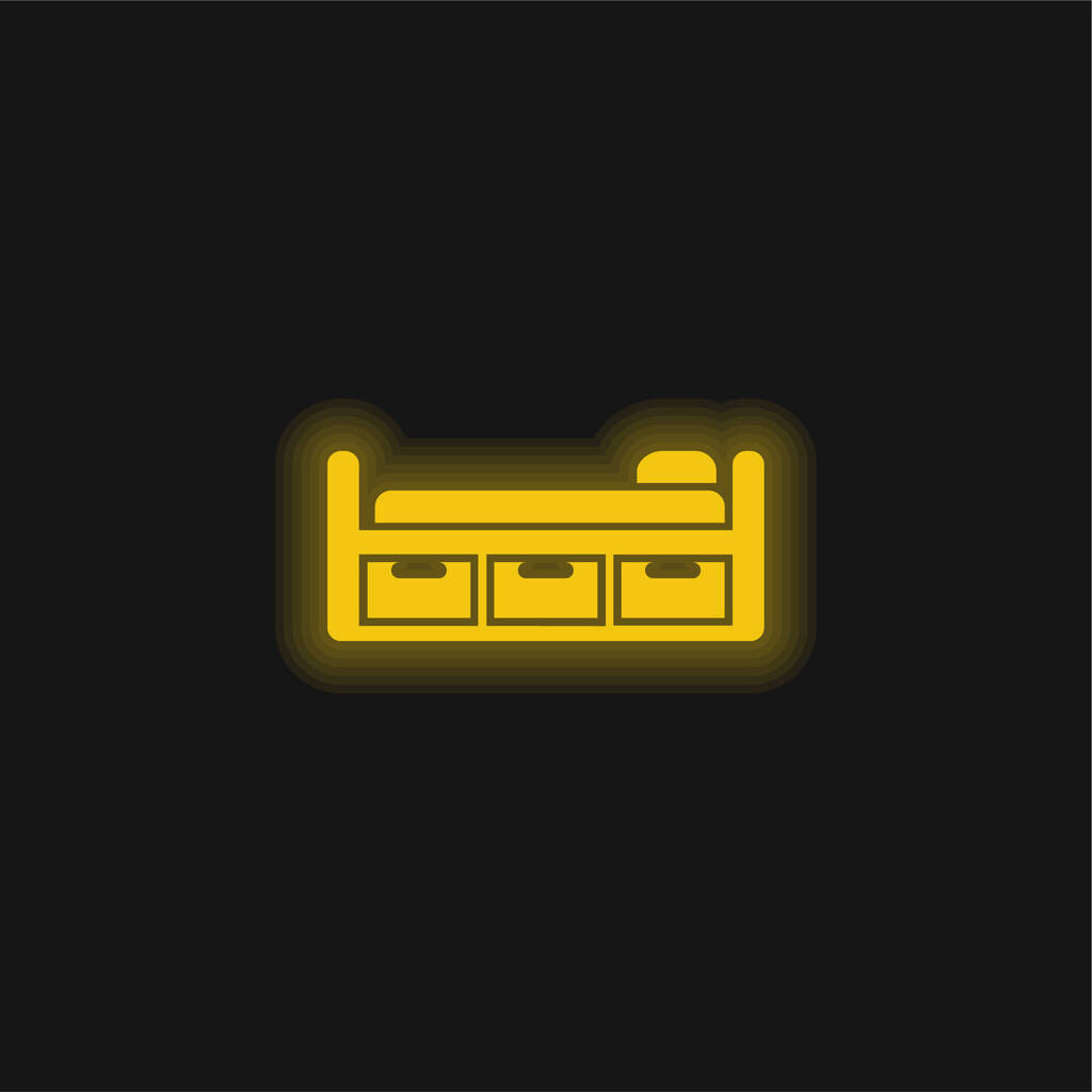 Bed Design With Three Drawers yellow glowing neon icon