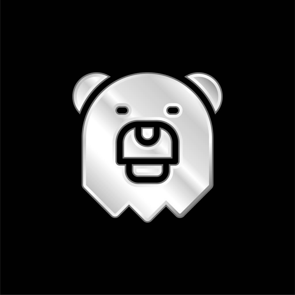 Bear silver plated metallic icon