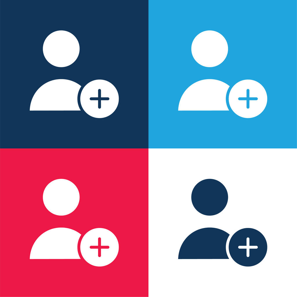 Add User blue and red four color minimal icon set