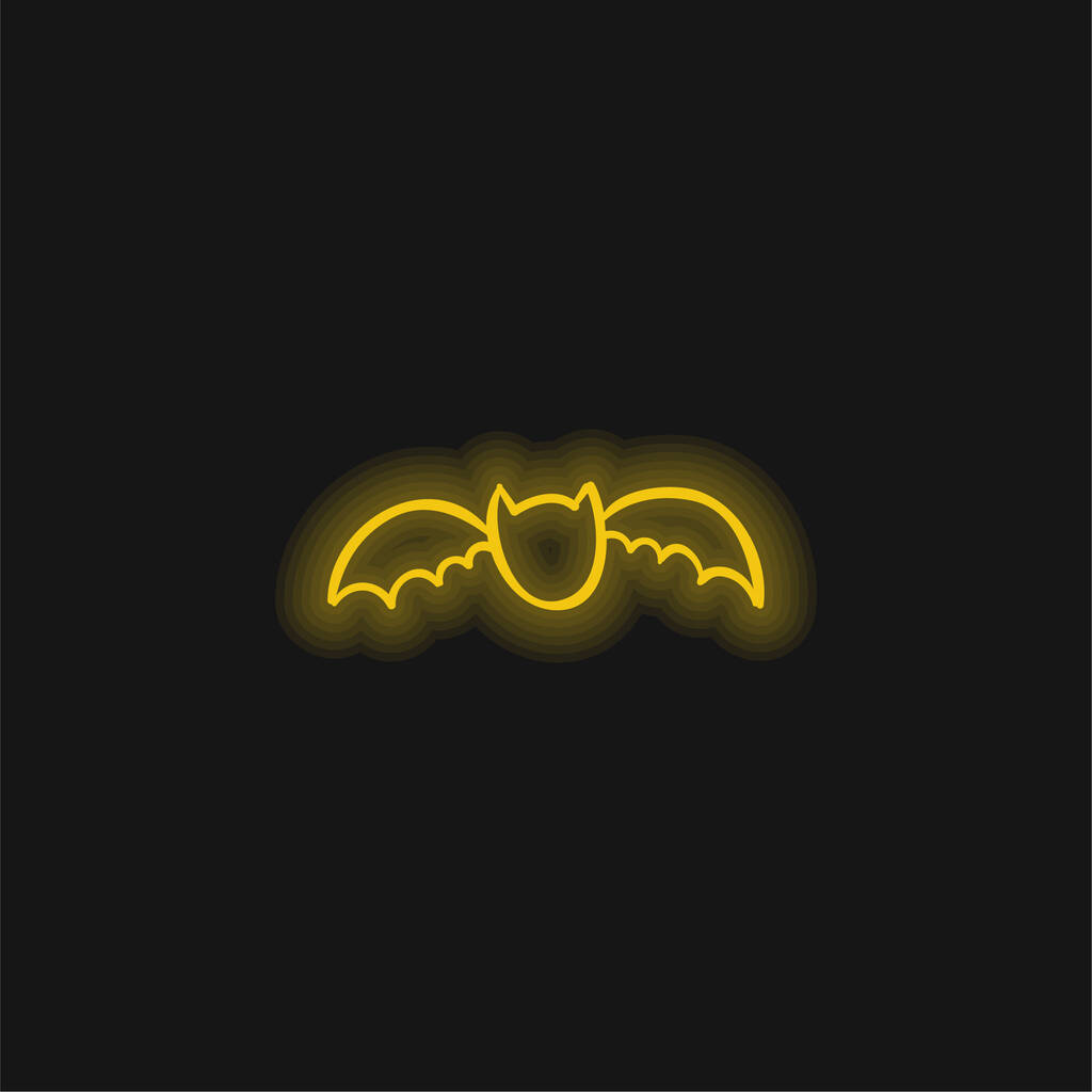 Bat Outline yellow glowing neon icon