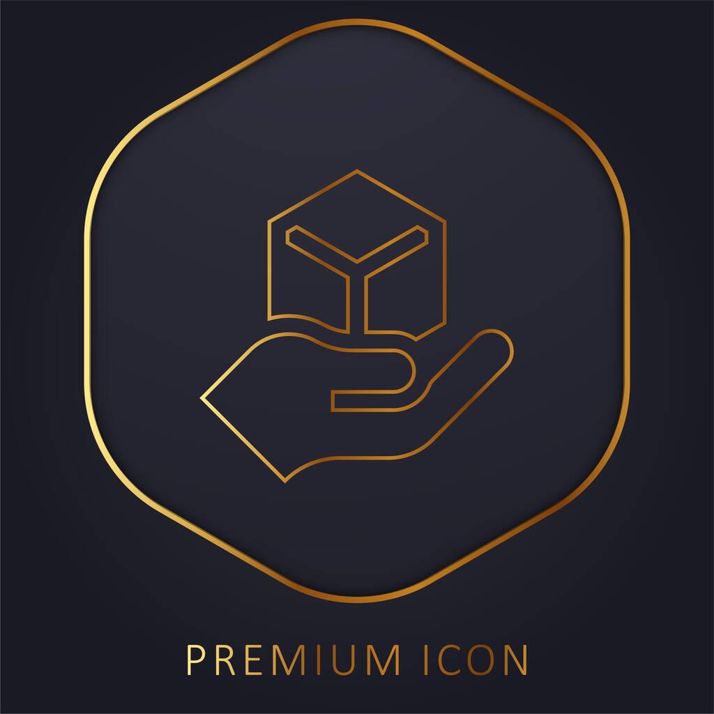 Box golden line premium logo or icon