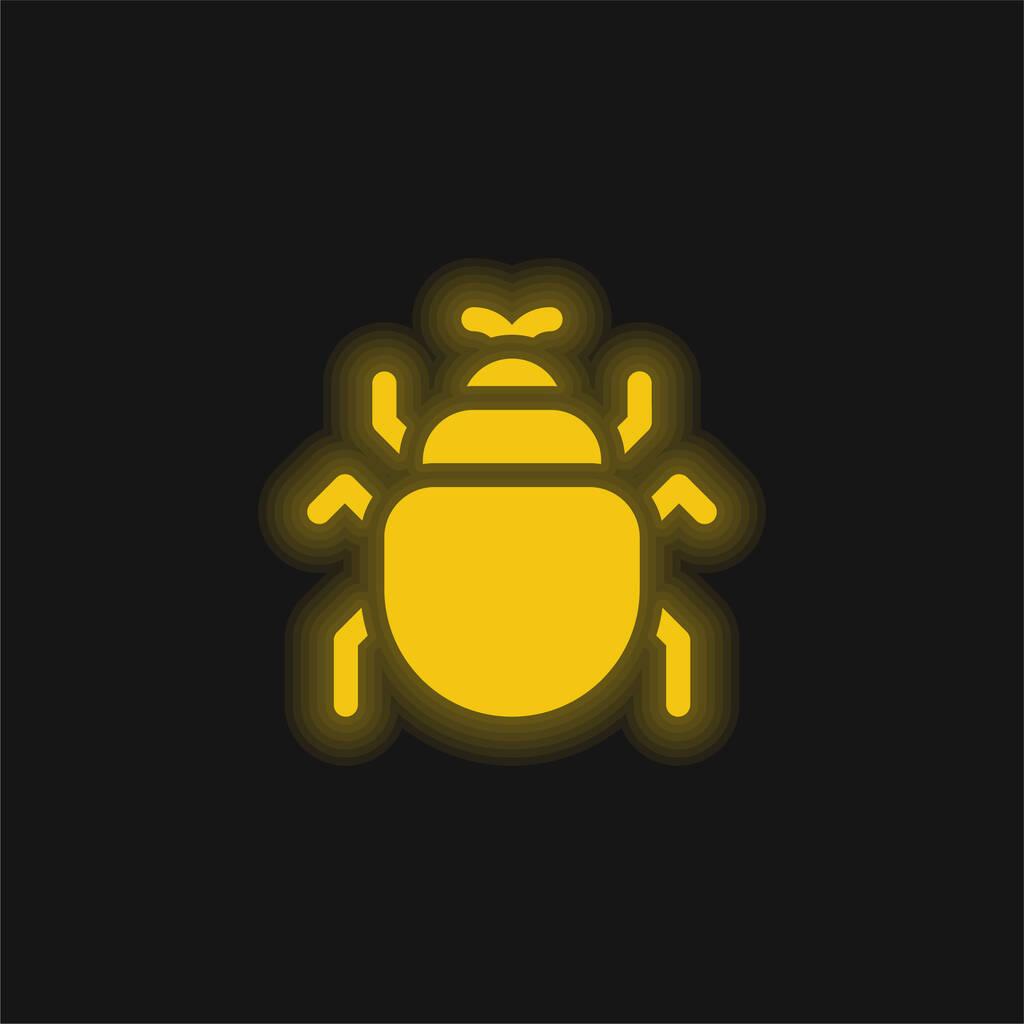 Beetle yellow glowing neon icon