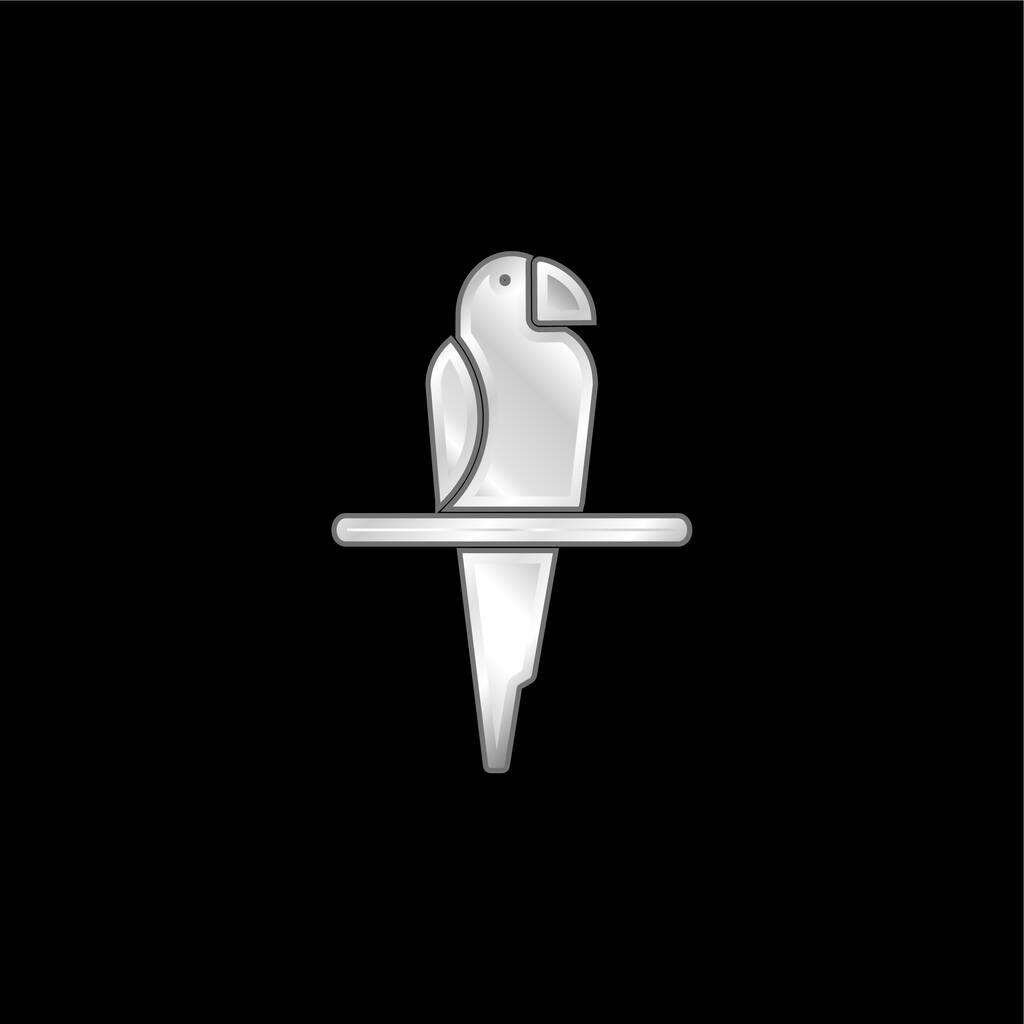 Bird silver plated metallic icon