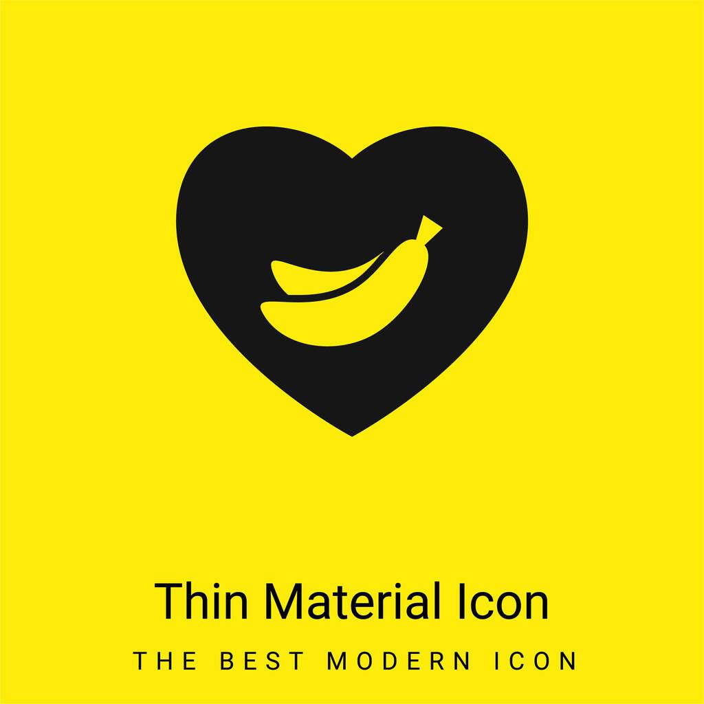 Banana Lover Symbol Of Bananas Inside A Heart minimal bright yellow material icon