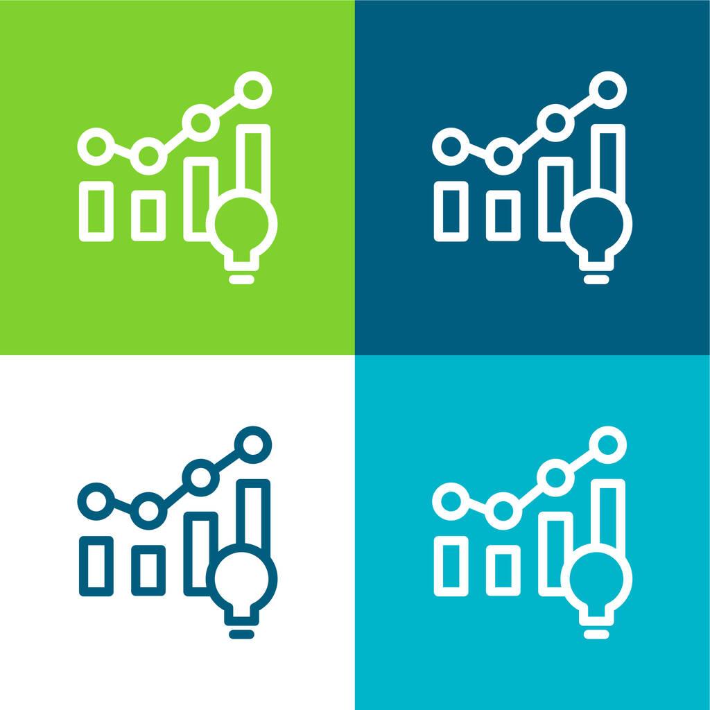 Analytics Flat four color minimal icon set