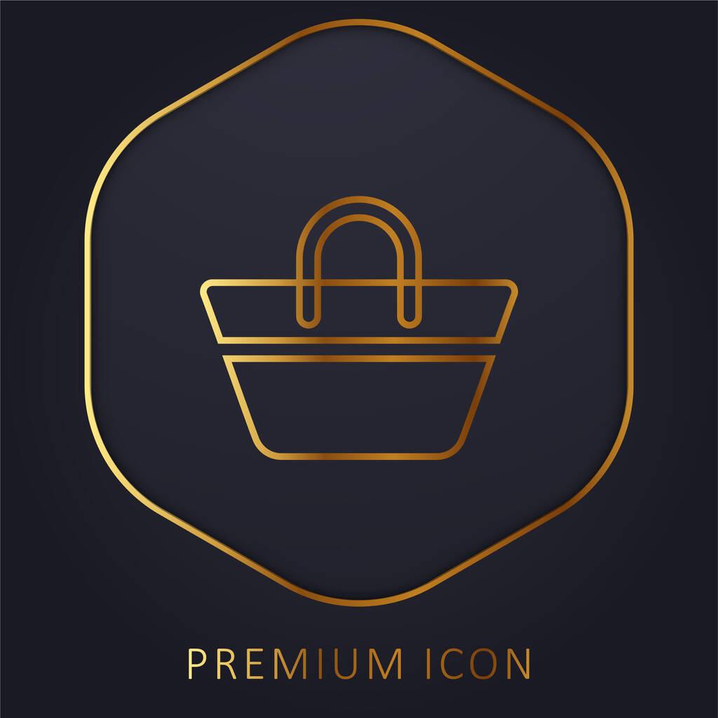 Beach Bag golden line premium logo or icon