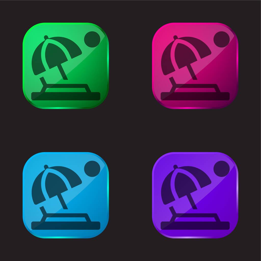 Beach four color glass button icon