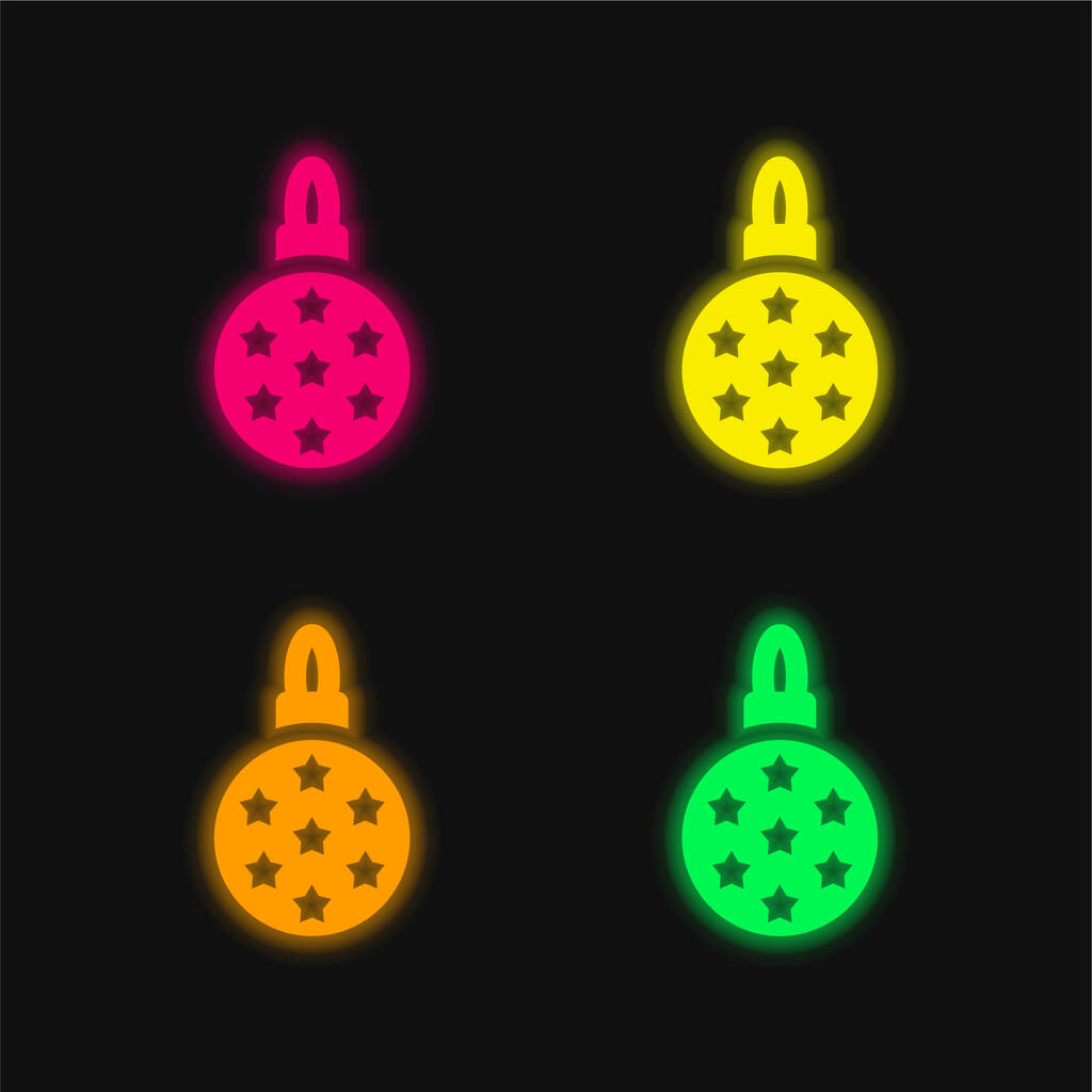Bauble four color glowing neon vector icon