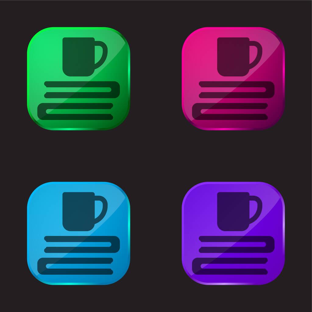 Books four color glass button icon