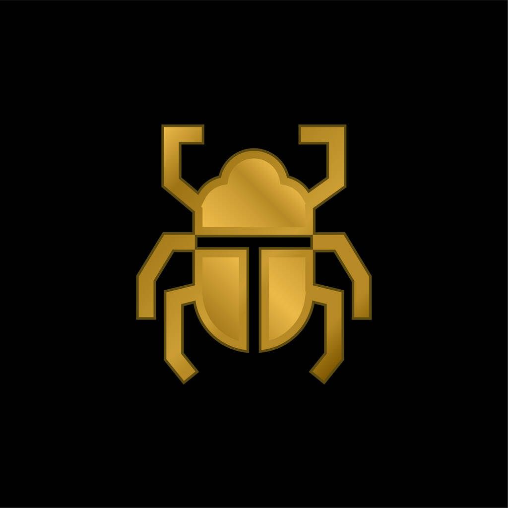 Beetle gold plated metalic icon or logo vector