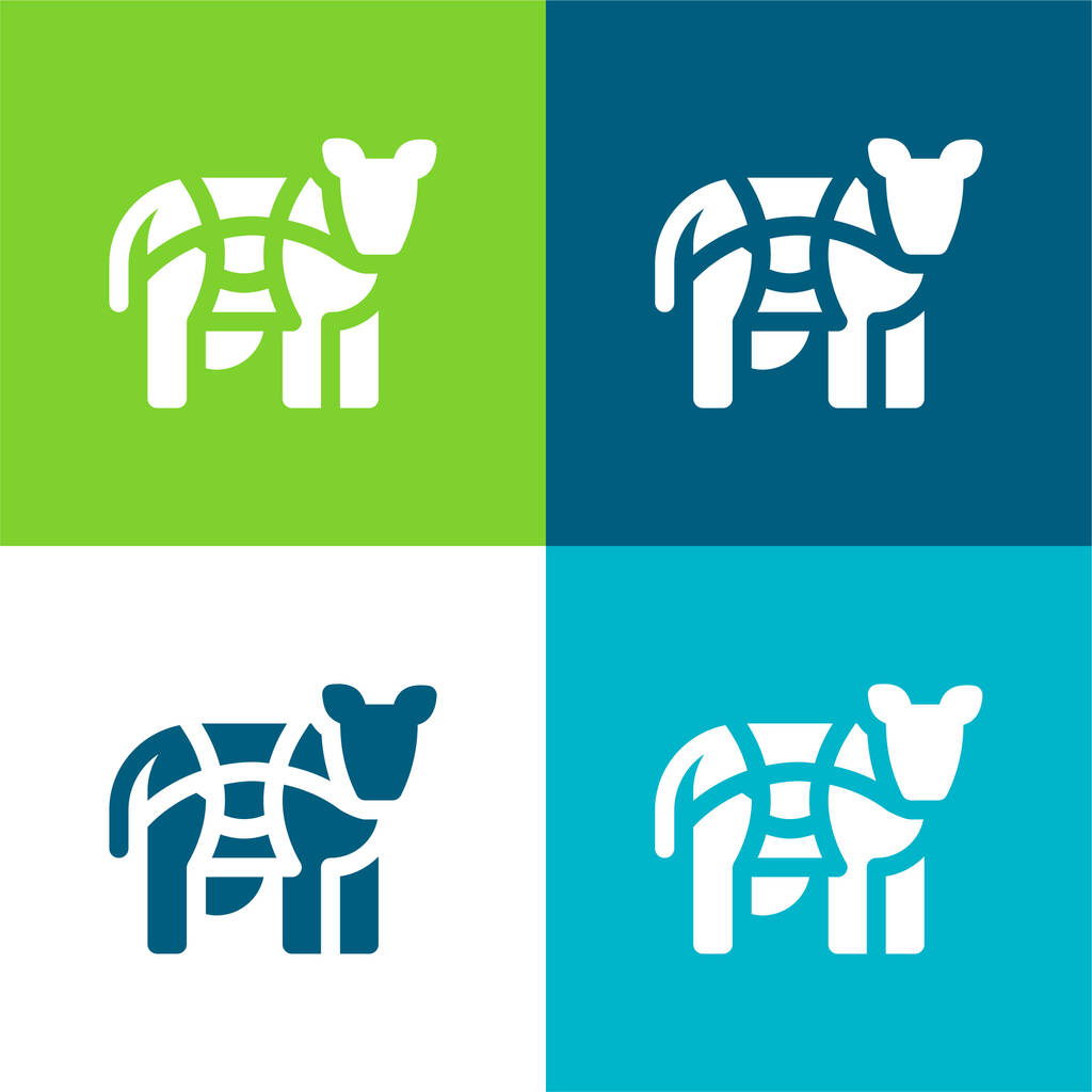 Beef Flat four color minimal icon set