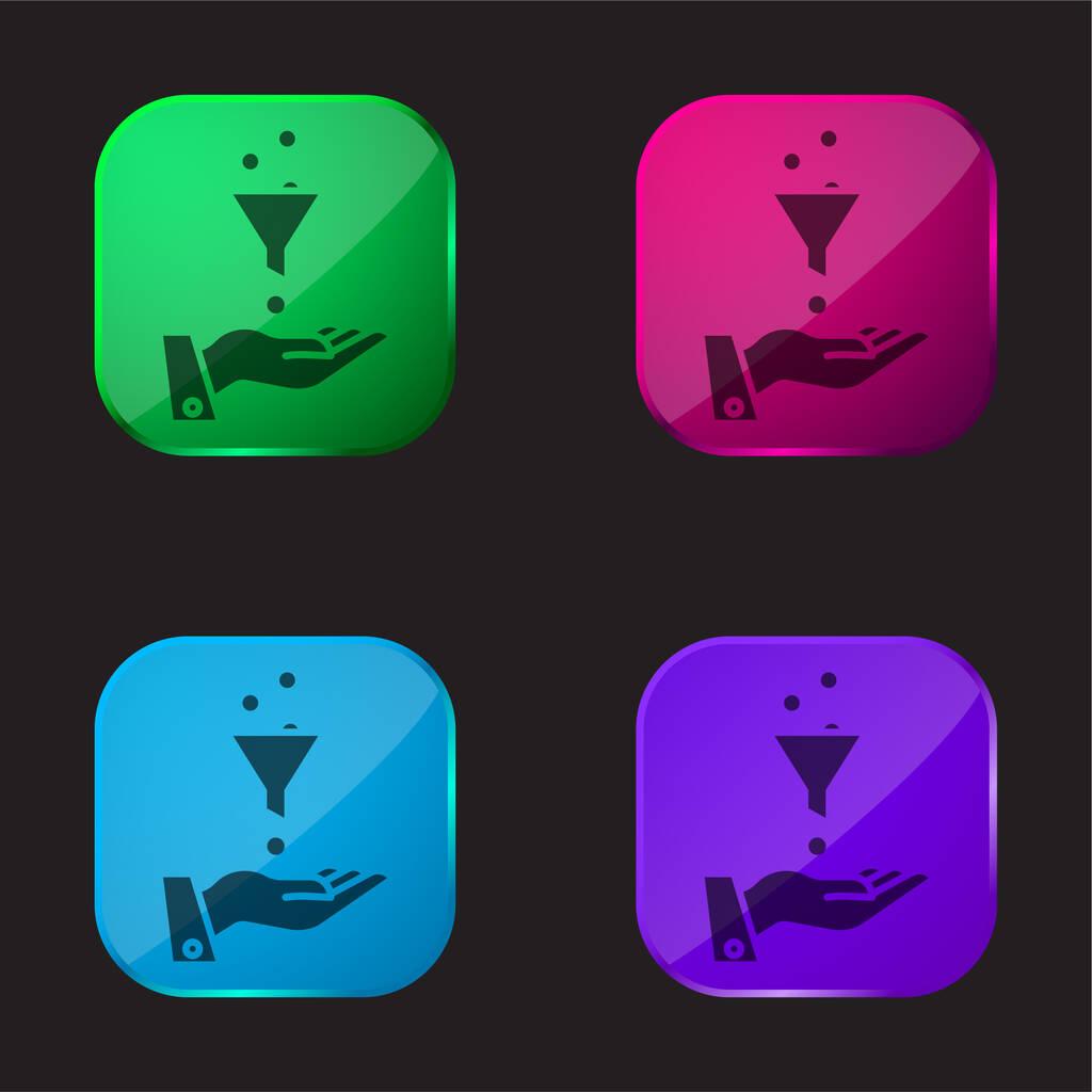 Ads four color glass button icon