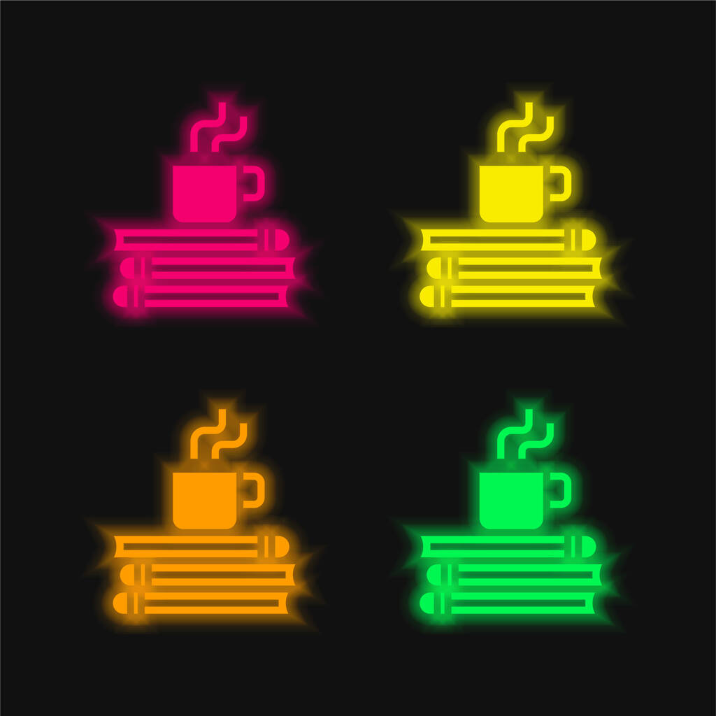 Break Time four color glowing neon vector icon
