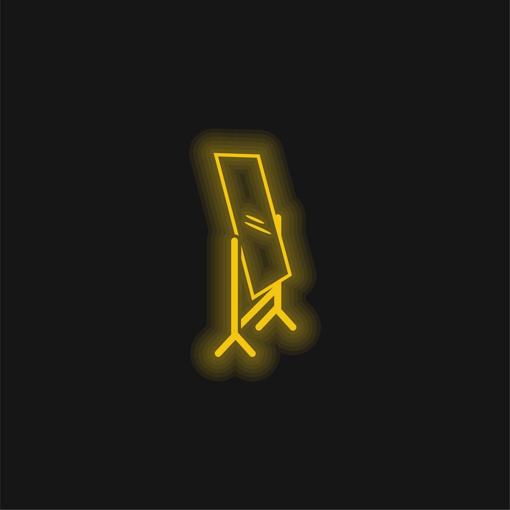 Bedroom Mirror yellow glowing neon icon