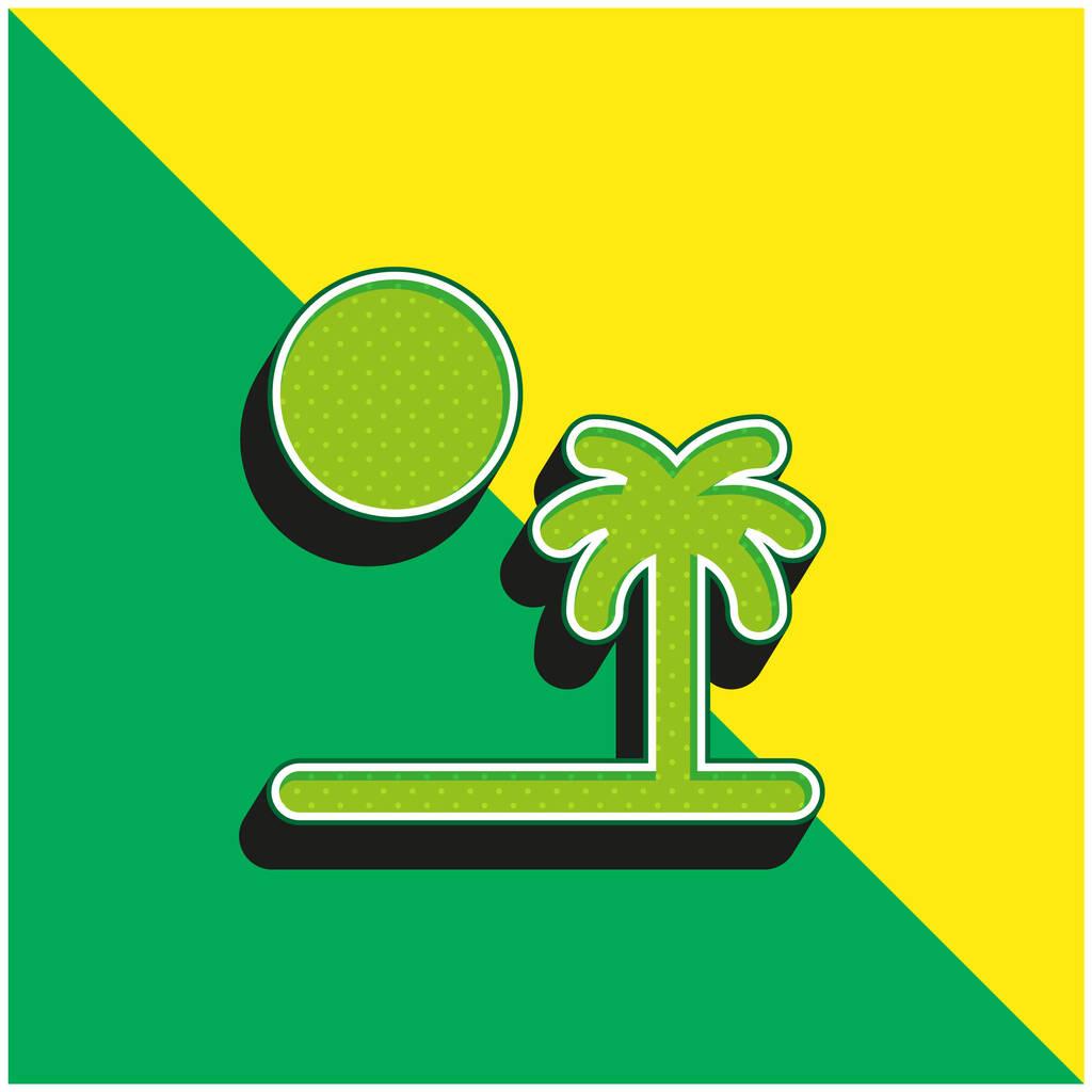Beach Green and yellow modern 3d vector icon logo