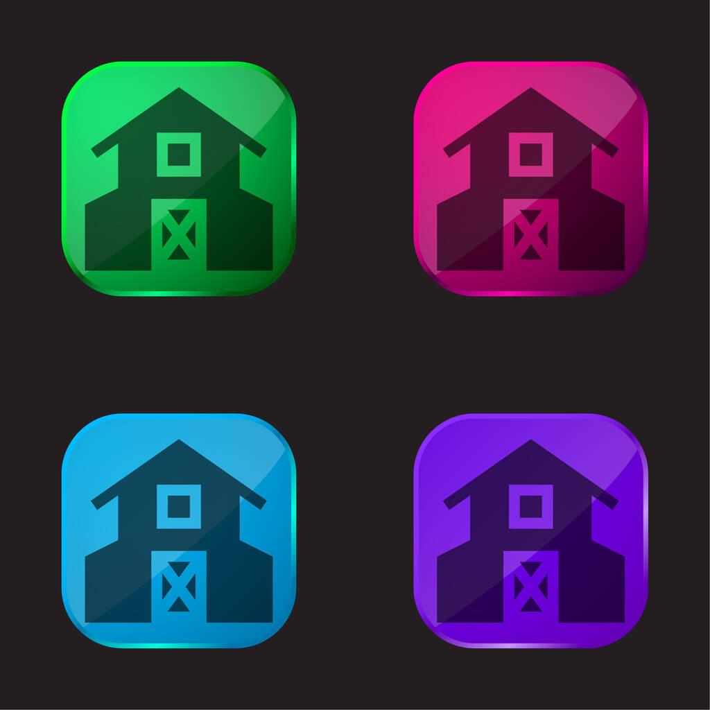 Barn four color glass button icon