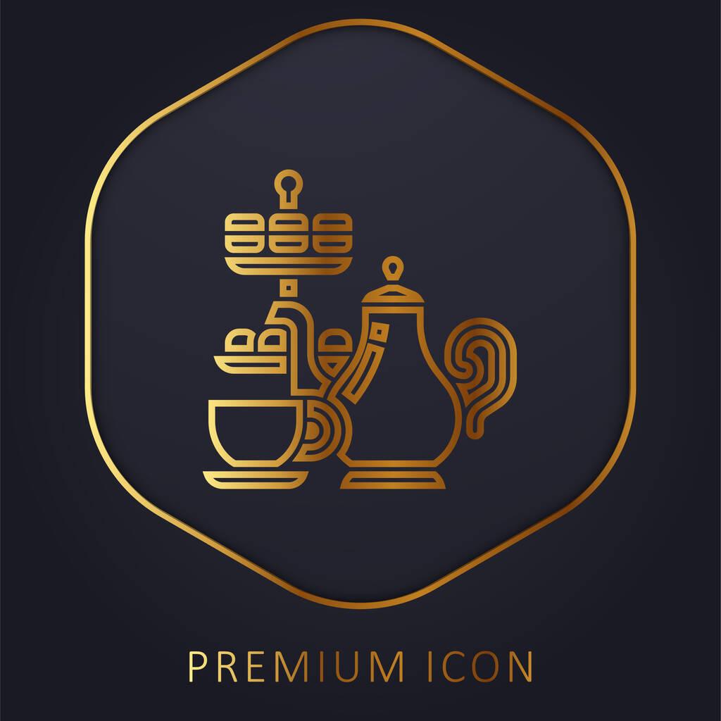 Afternoon Tea golden line premium logo or icon
