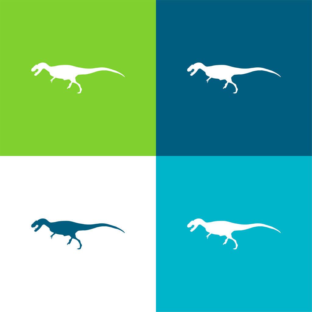 Allosaurus Dinosaur Shape Flat four color minimal icon set