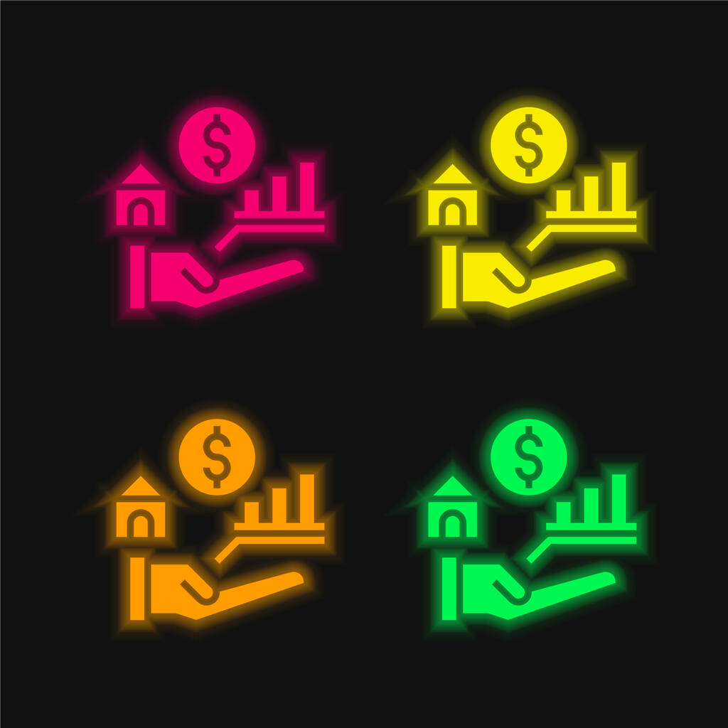 Benefits four color glowing neon vector icon