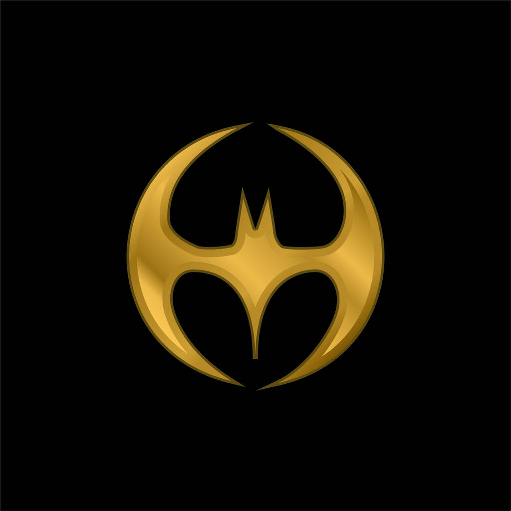 Bat Silhouette Black Shape With Wings Forming A Circle gold plated metalic icon or logo vector