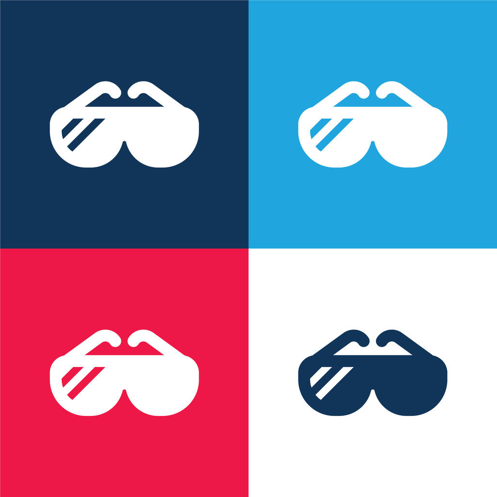 Big Sunglasses blue and red four color minimal icon set