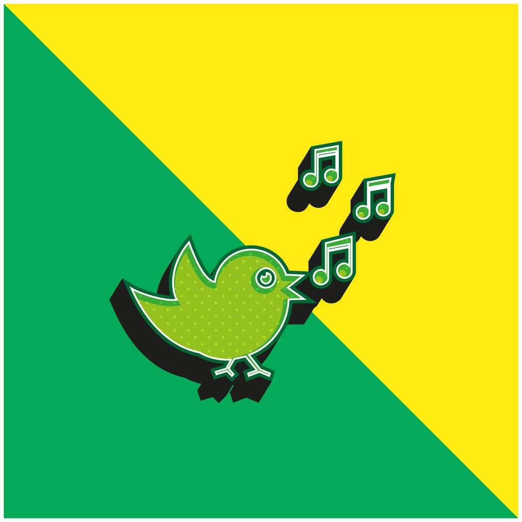 Bird Singing With Musical Notes Green and yellow modern 3d vector icon logo