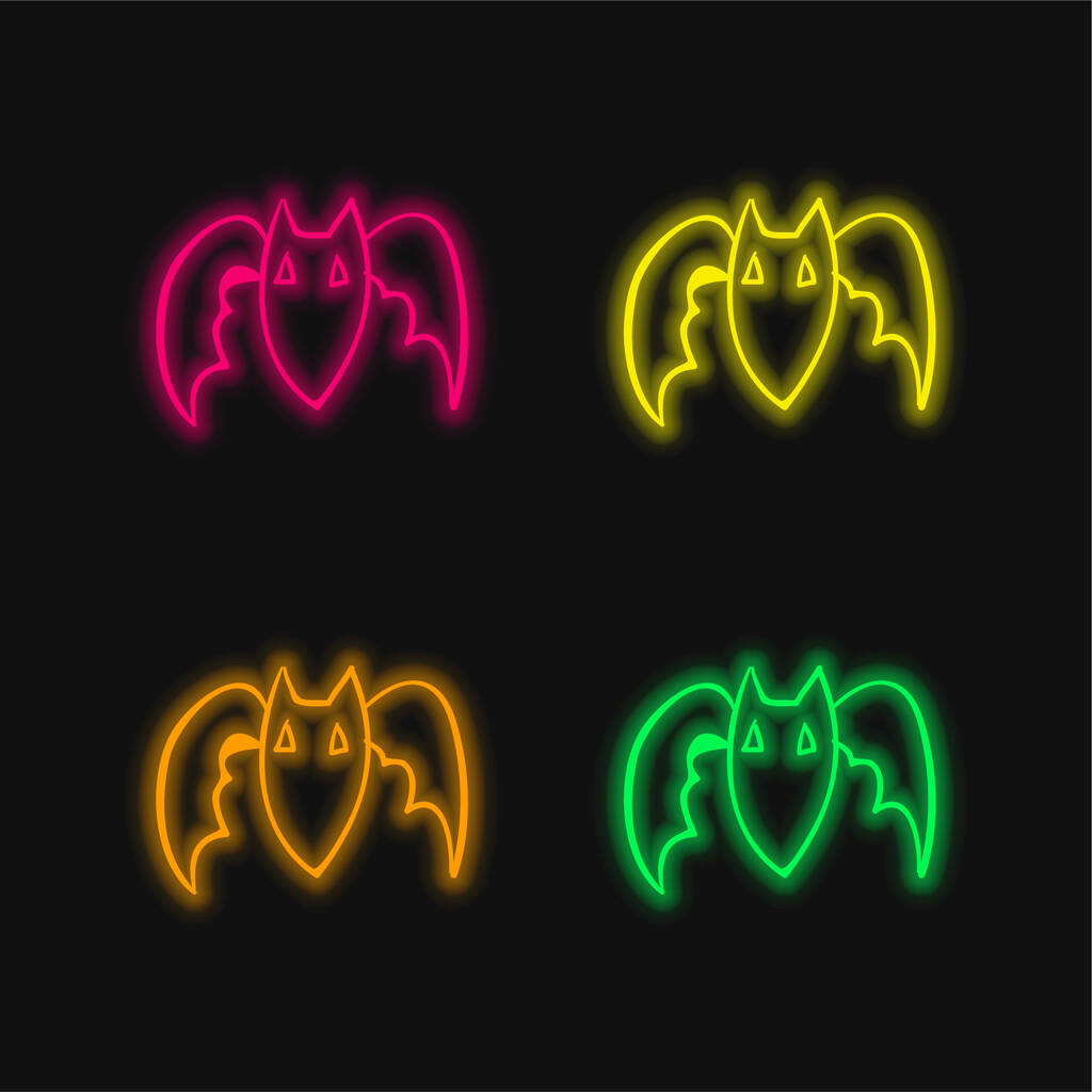 Bat Outline four color glowing neon vector icon