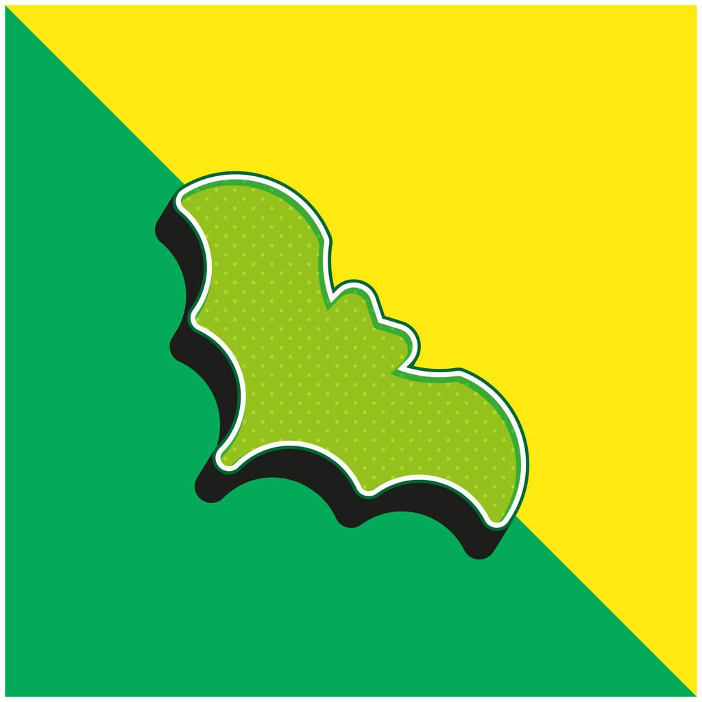 Bat Green and yellow modern 3d vector icon logo