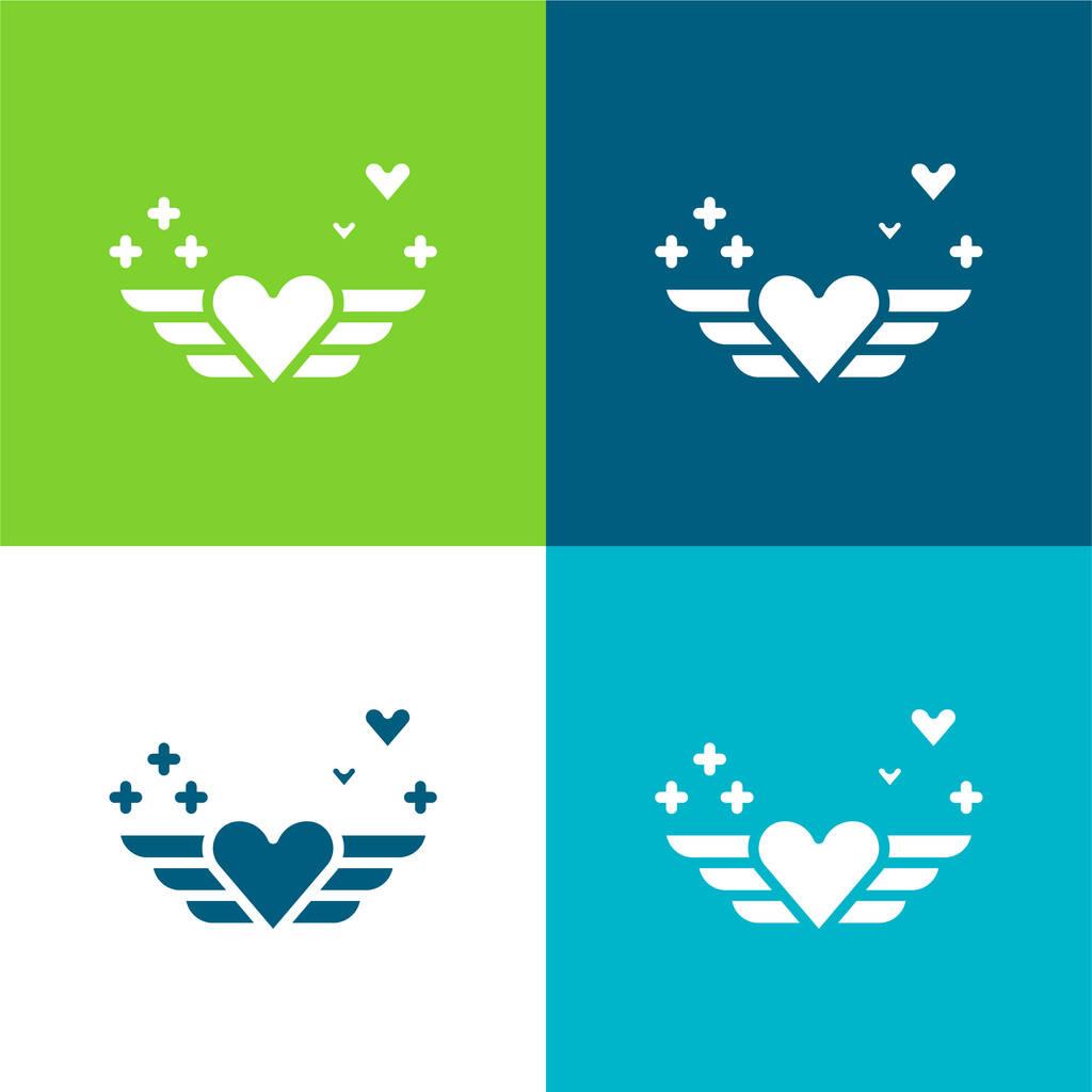 Angel Flat four color minimal icon set