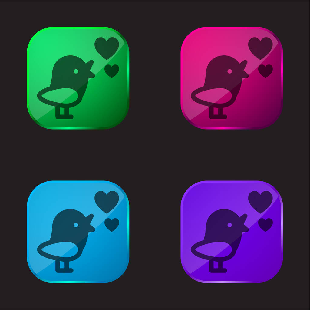 Bird With Hearts four color glass button icon