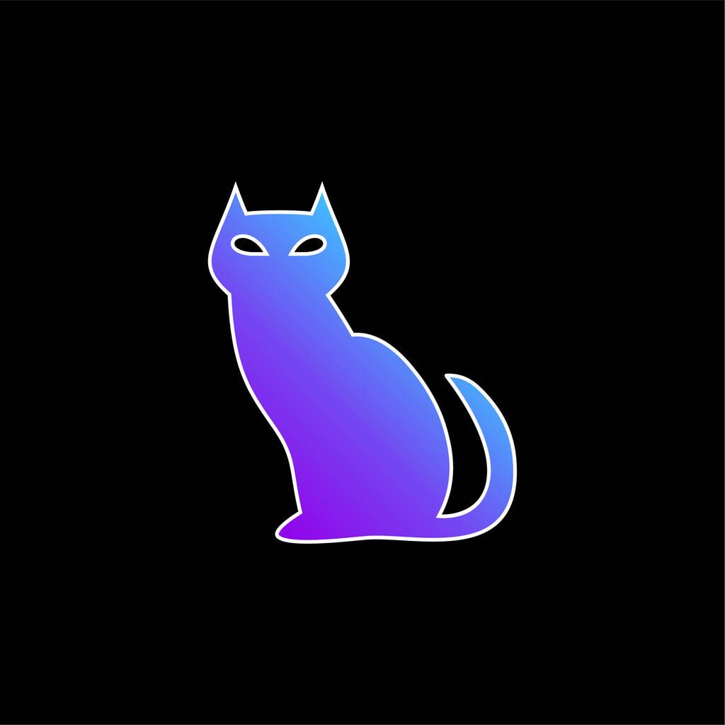 Black Evil Cat blue gradient vector icon