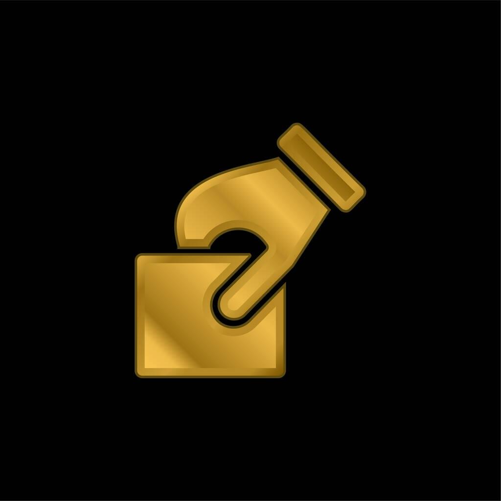 Ballot gold plated metalic icon or logo vector