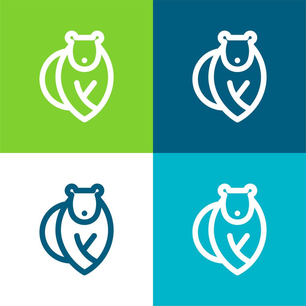 Bear Flat four color minimal icon set